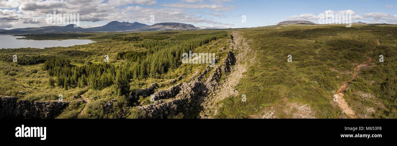 Almannagja riss. Thingvellir National Park, ein UNESCO-Weltkulturerbe, Island. Stockbild