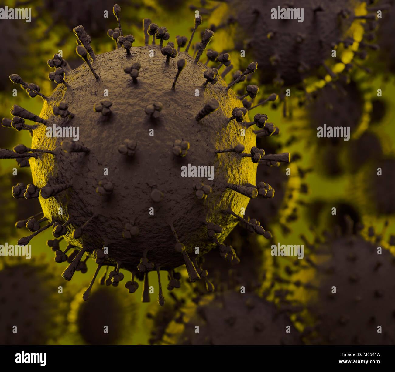 Vogelgrippe-virus H1N1, H5N1, Influenza-A-Virus Partikel-virionen unter einem Mikroskop. Wissenschaftliche Illustration Stockbild