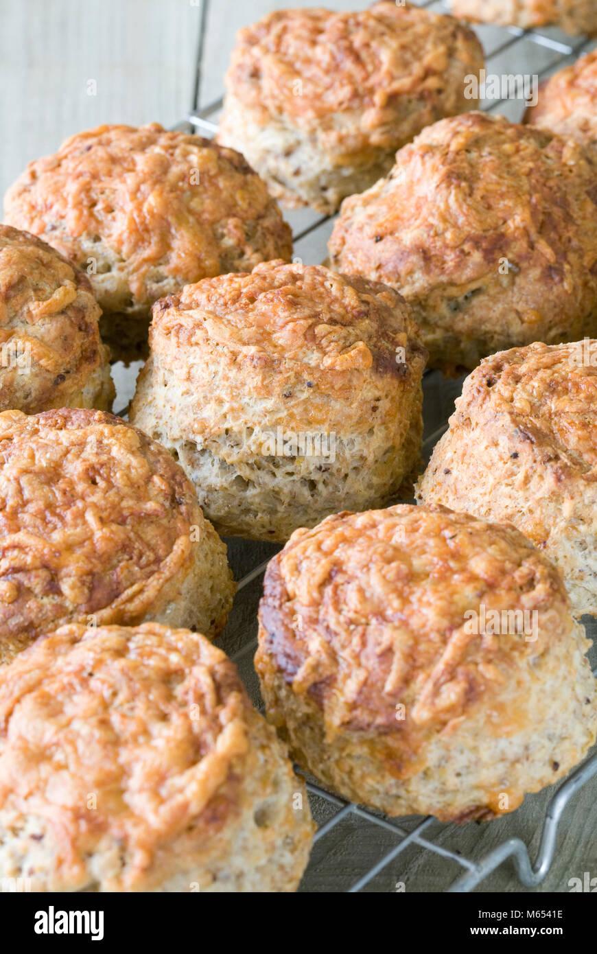 Frisch gebackenen Käse scones Kühlung in einem Draht Fach. Stockbild