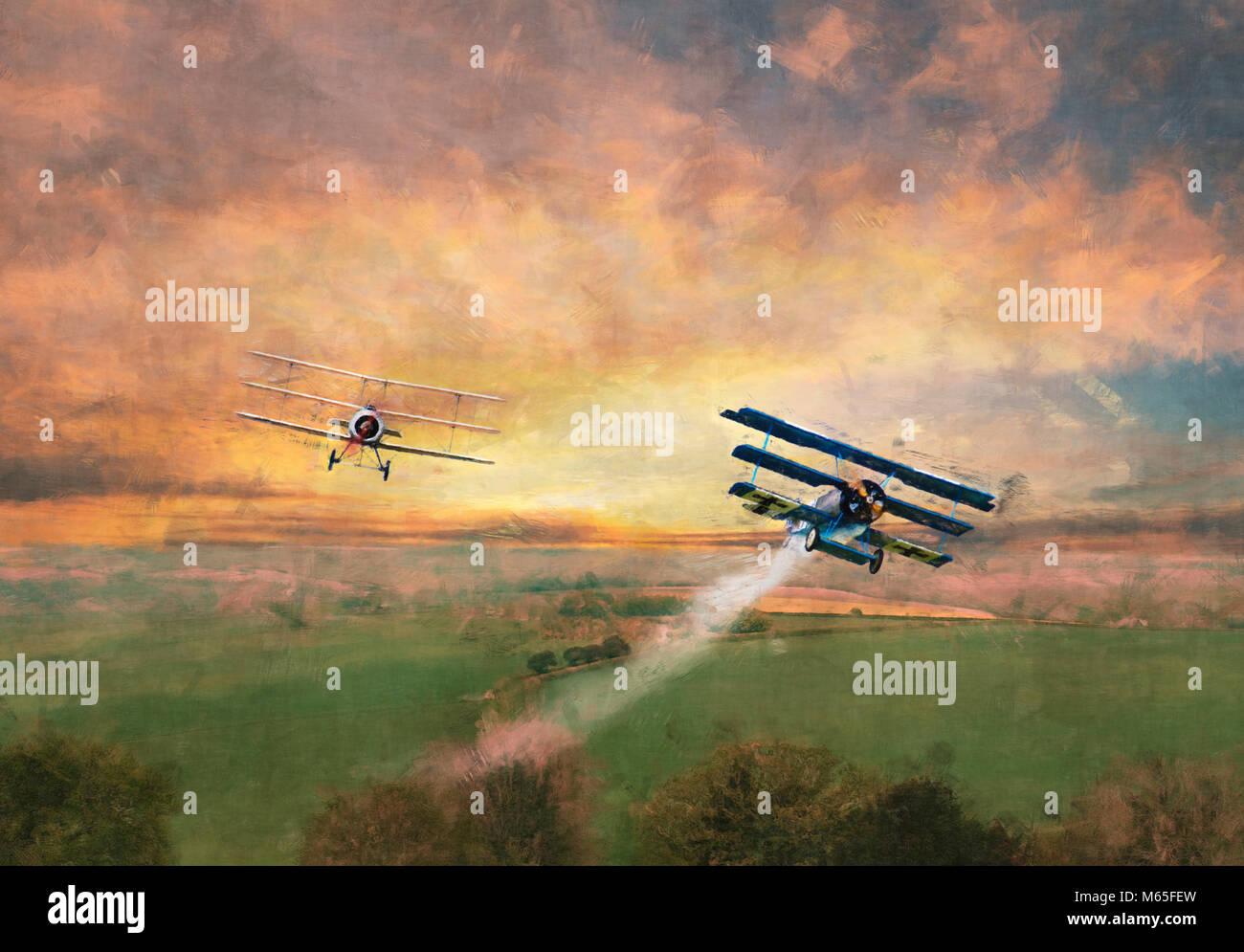 Digital geändert Bild einer Welt Krieg 1 Dogfight über die offene Landschaft Stockfoto