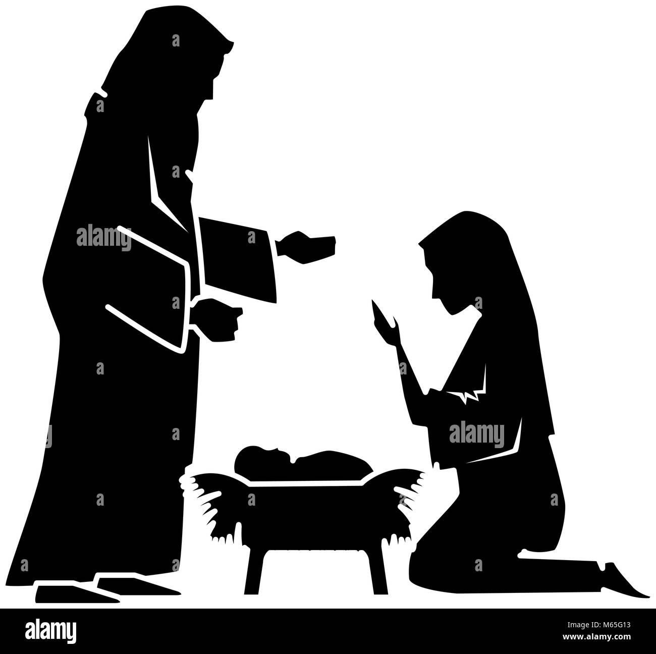 Heilige Familie silhouette Weihnachten Zeichen Vektor Abbildung ...