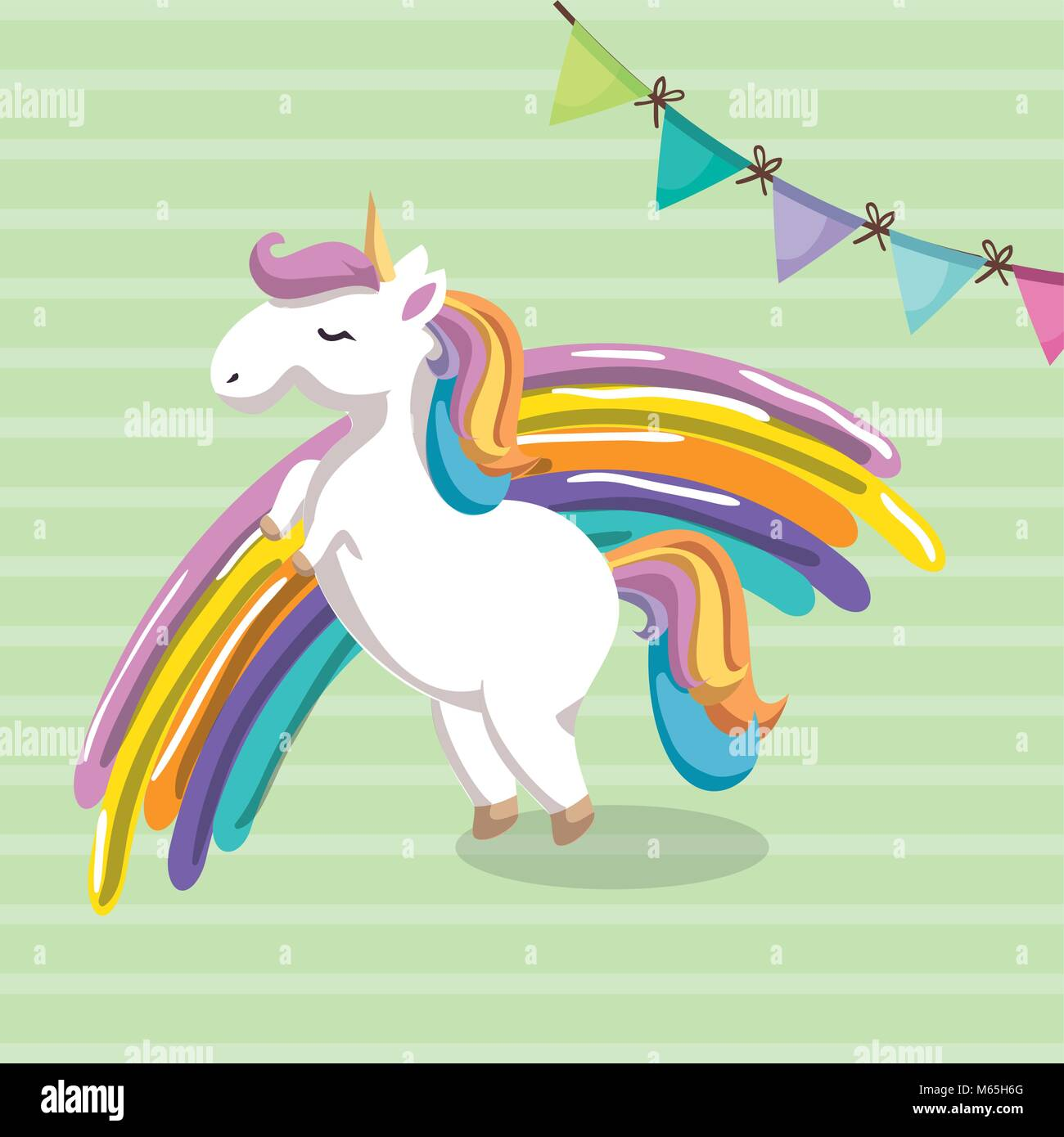 süße einhorn mit rainbow kawaii charakter geburtstagskarte