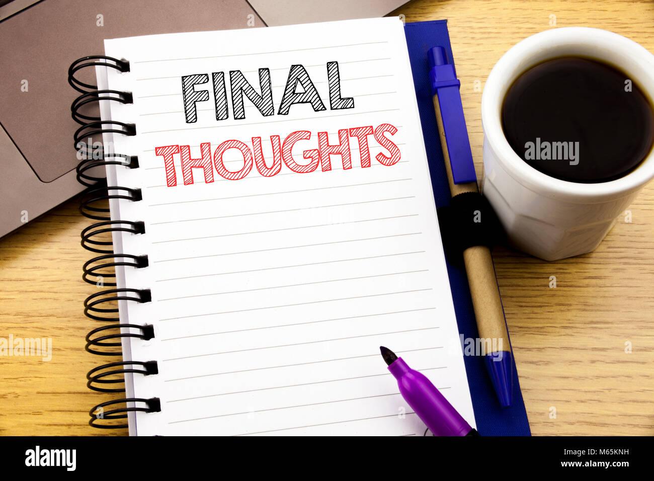 Word Abschließende Gedanken Schreiben Business Konzept Für Fazit