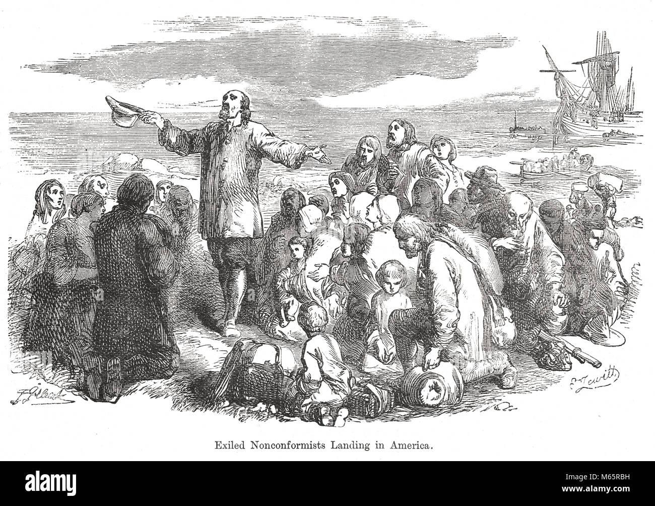 Verbannt Nonkonformisten, Landung in Amerika, 17. Jahrhundert Stockfoto