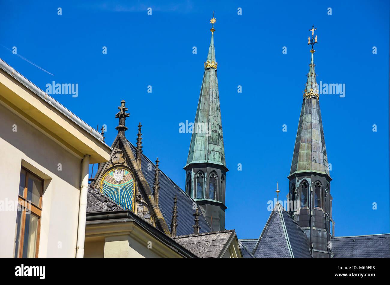 Klatovy, Tschechien - Archdean Pfarrei Kirche der Geburt der Jungfrau Maria. Stockbild