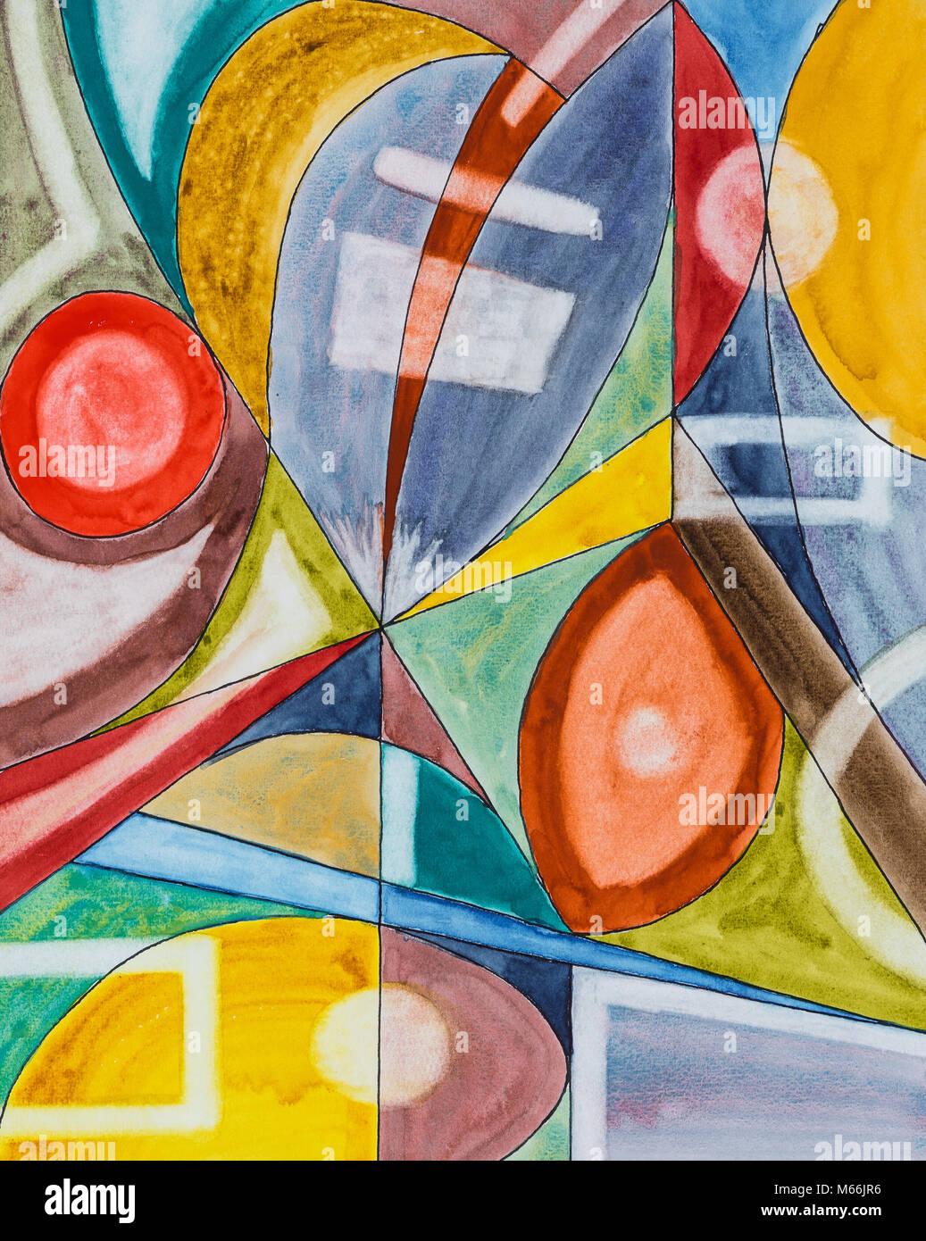 Ein abstraktes Aquarell und Tusche Komposition. Stockbild