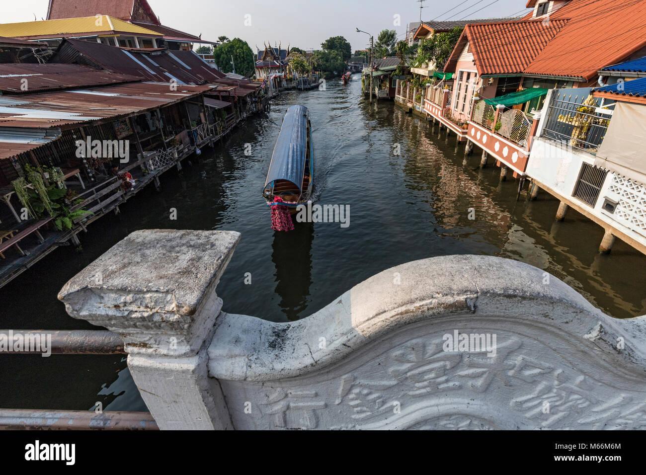 Bangkok Khlongs und Kanäle - khlong auch häufig buchstabiert Klong ist das Thailändische Wort für Stockbild