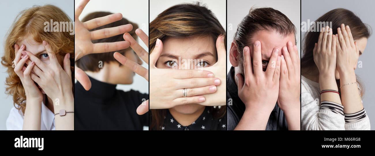 Gruppe von Menschen, die ihr Gesicht verstecken mit den Fingern. Die Angst vor etwas. Stockbild