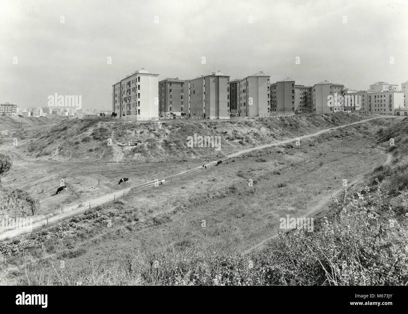 Primavalle Projekt Gebäude gerade abgeschlossen, Rom, Italien 1950 Stockbild