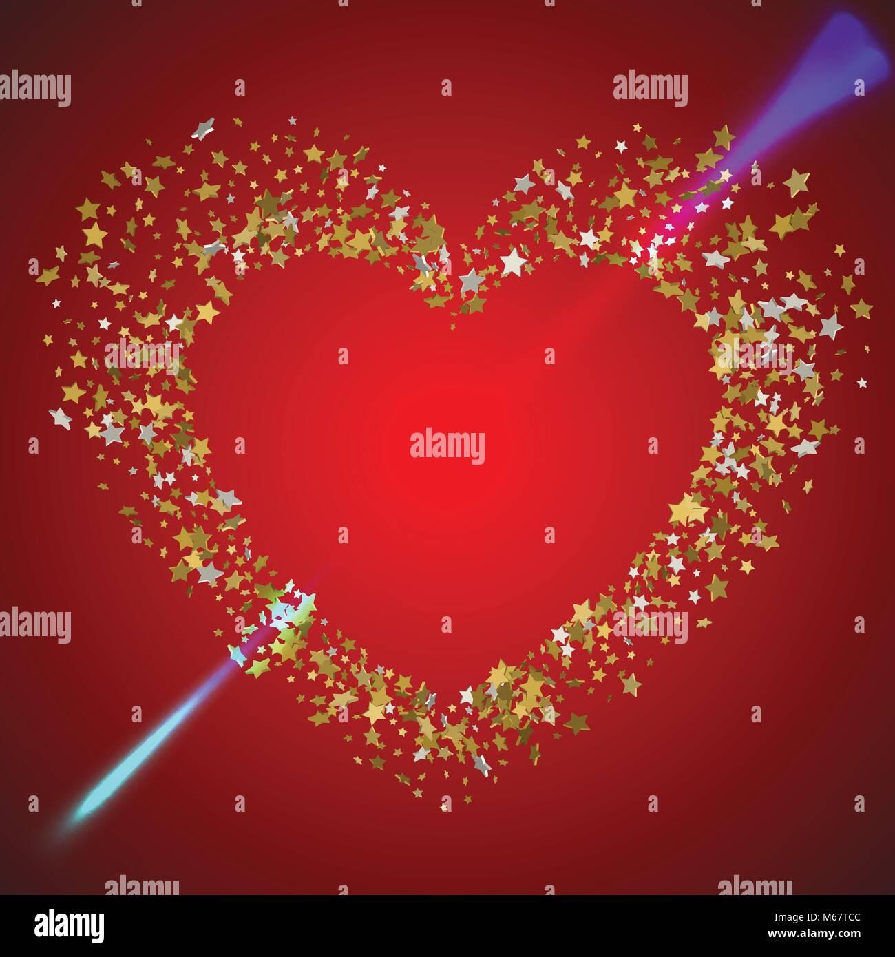 Herz der Liebe durch den Pfeil durchbohrt. Herzen in einem Rahmen ...
