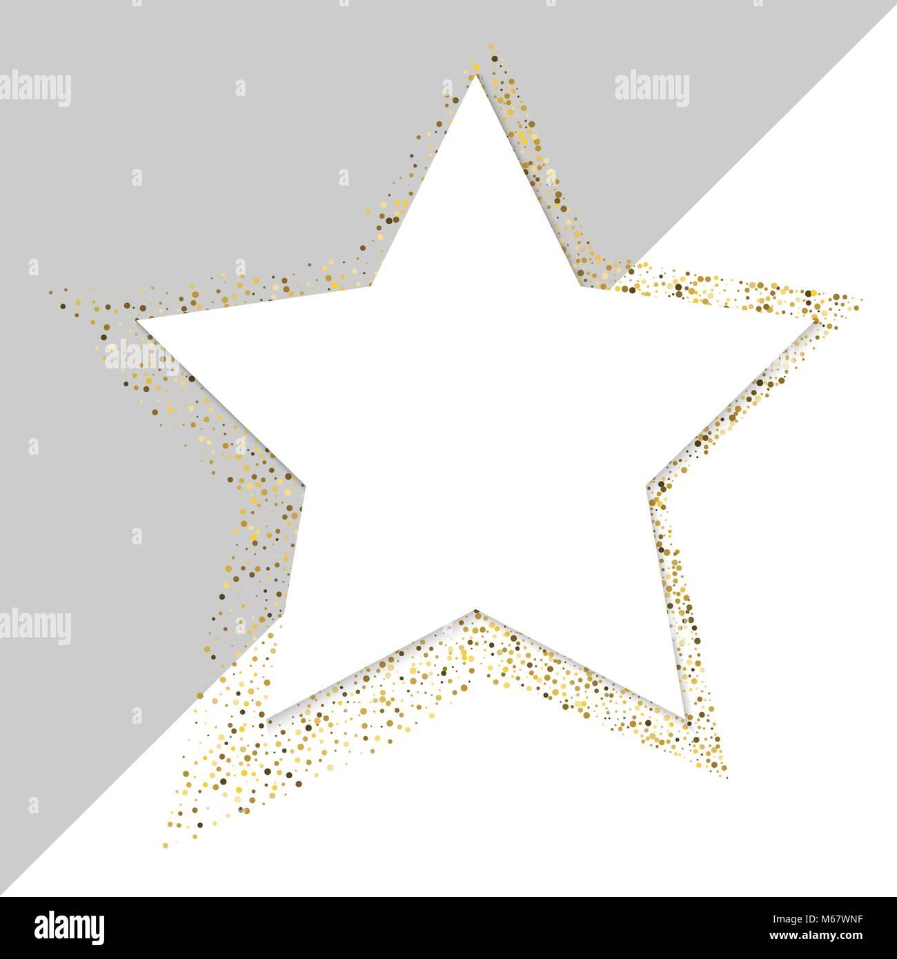 Golden Star vektor Banner auf weißen Hintergrund. Gold Glitzer Stern ...