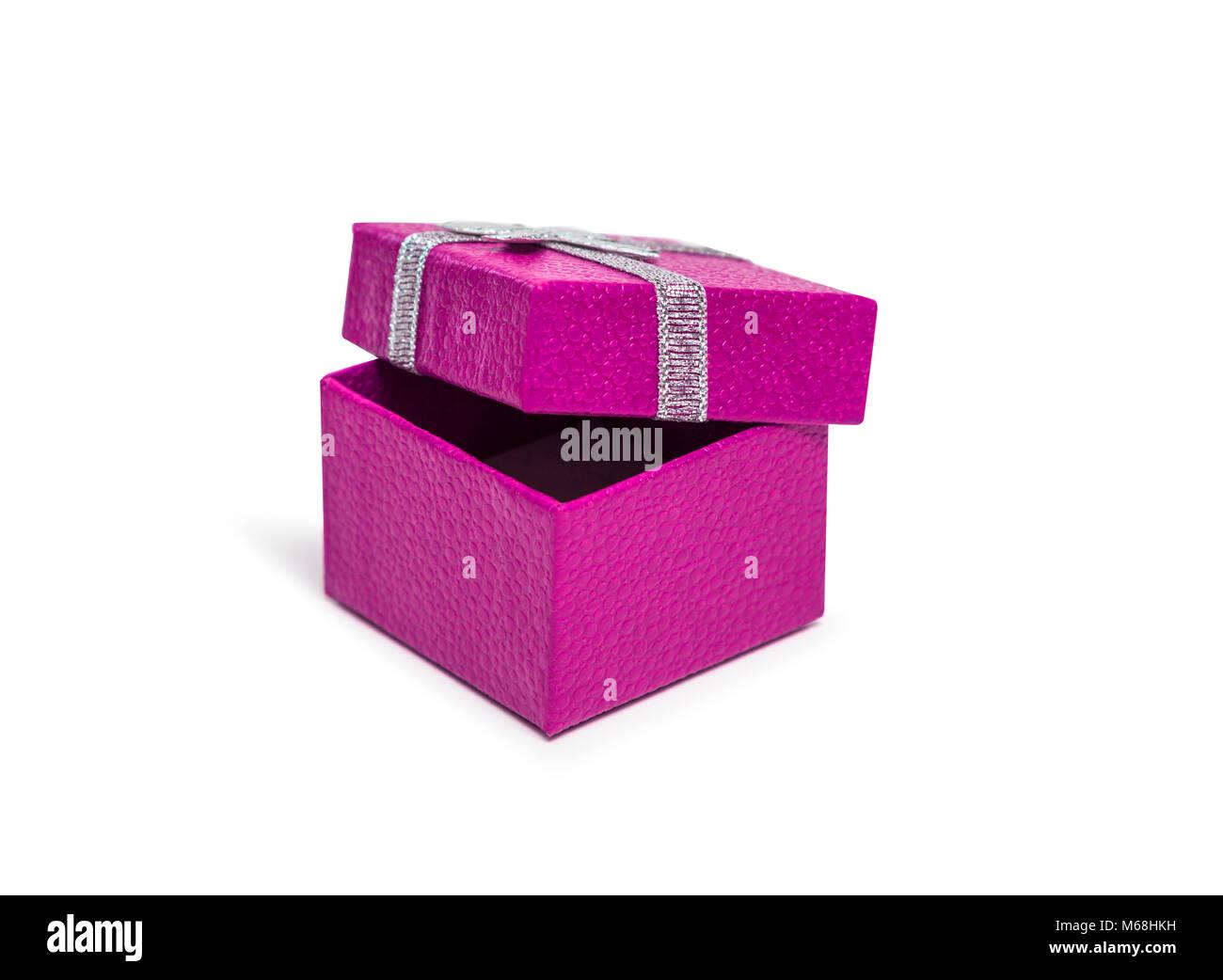 Offnen Rosa Geschenkkarton Mit Silber Farbband Auf Weissem Hintergrund Stockbild