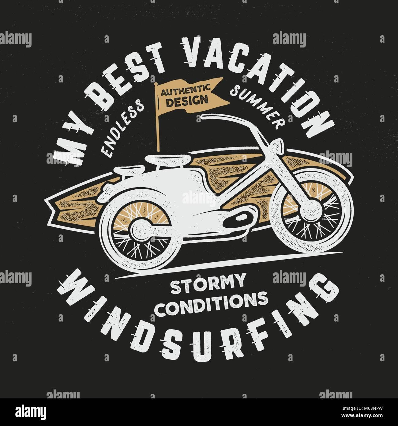 Jahrgang hand Windsurfen, Surfen t-stück Grafik Design. Sommer ...