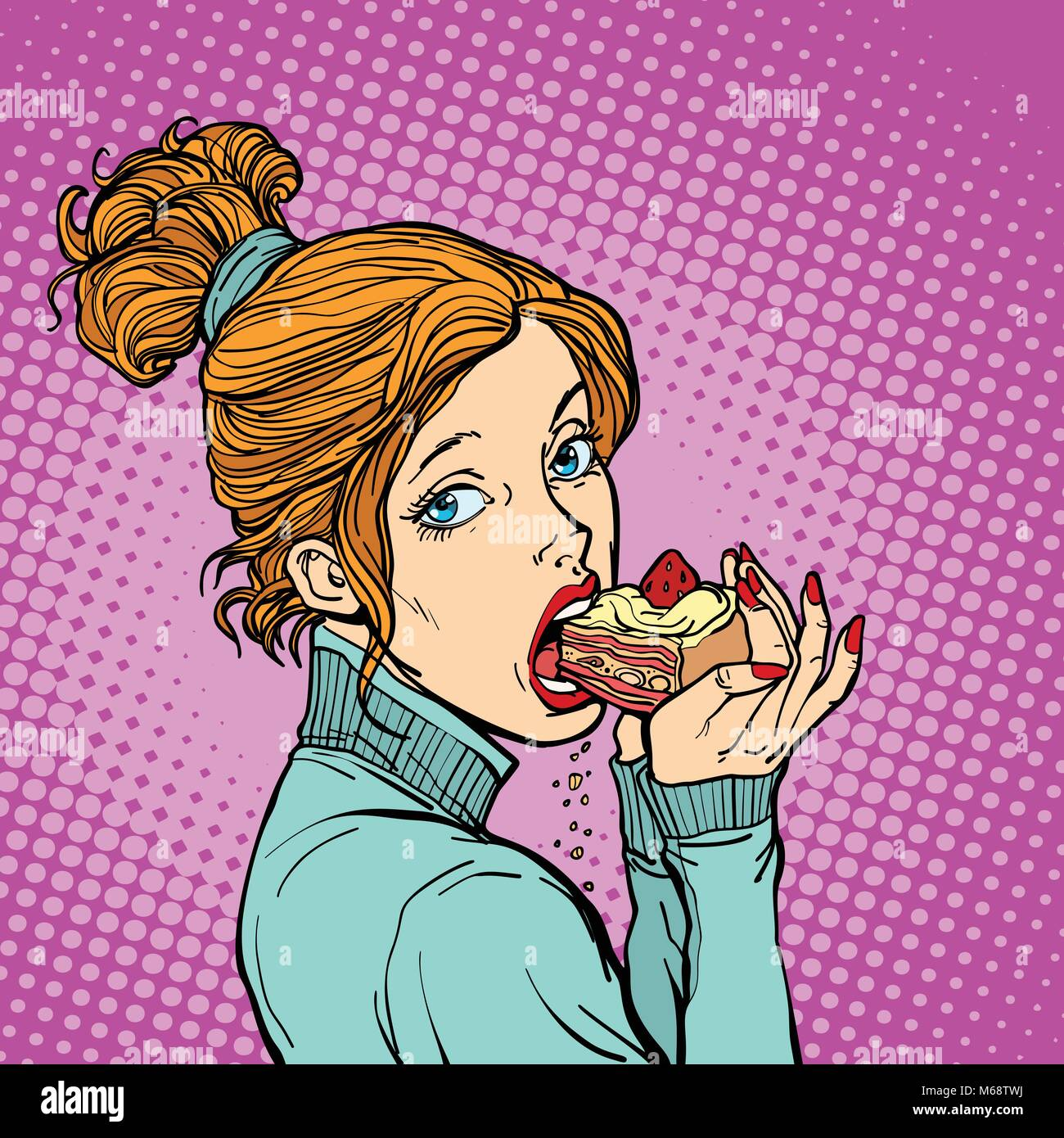 Frau Essen Ein Stuck Kuchen Diat Und Suss Comic Cartoon Pop Art