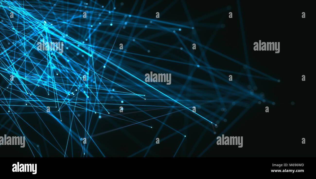 3D-Darstellung. Zusammenfassung Hintergrund Bild von Linien und Punkten auf dunklem Hintergrund. Stockbild
