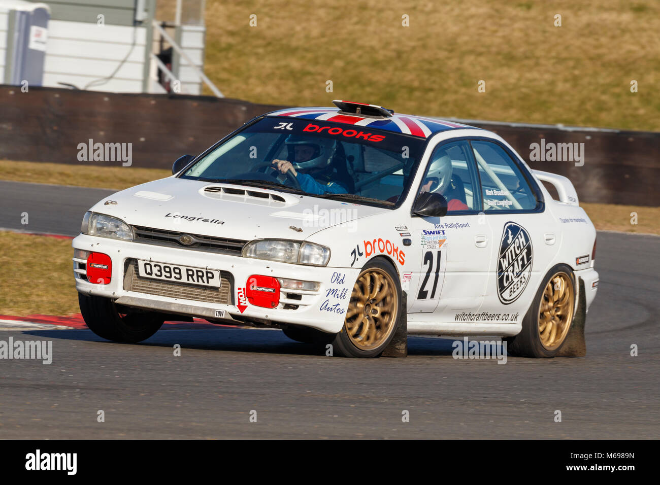 David Longfellow und Danny Ward im Subaru Impreza am 2018 Motorsport News Snetterton Bühne Rally, Norfolk, Stockbild