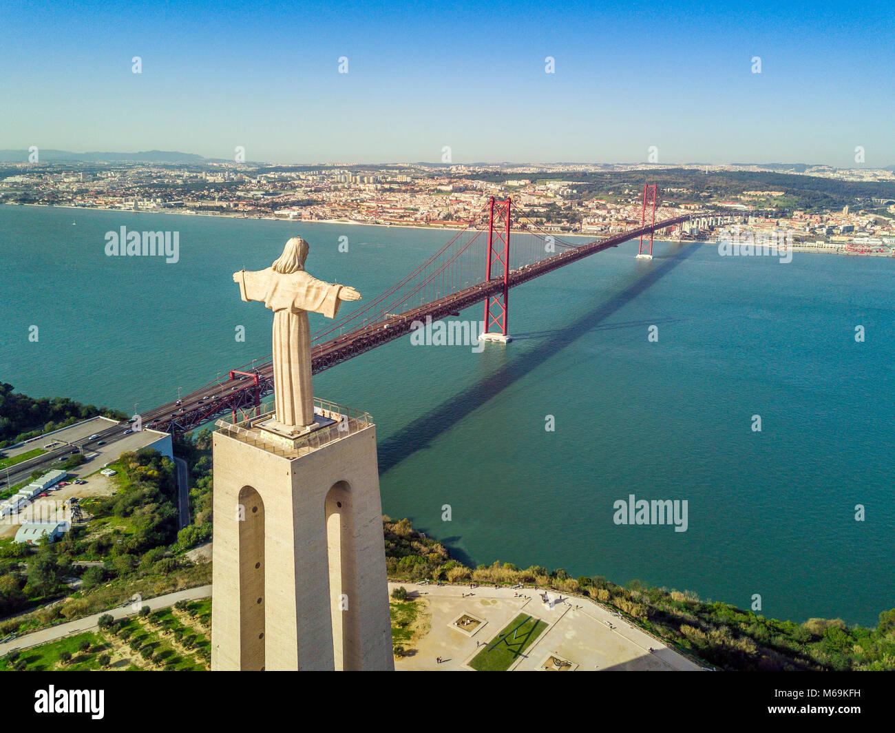 Jesus Christus Denkmal von Tejo in Lissabon, Portugal Stockbild