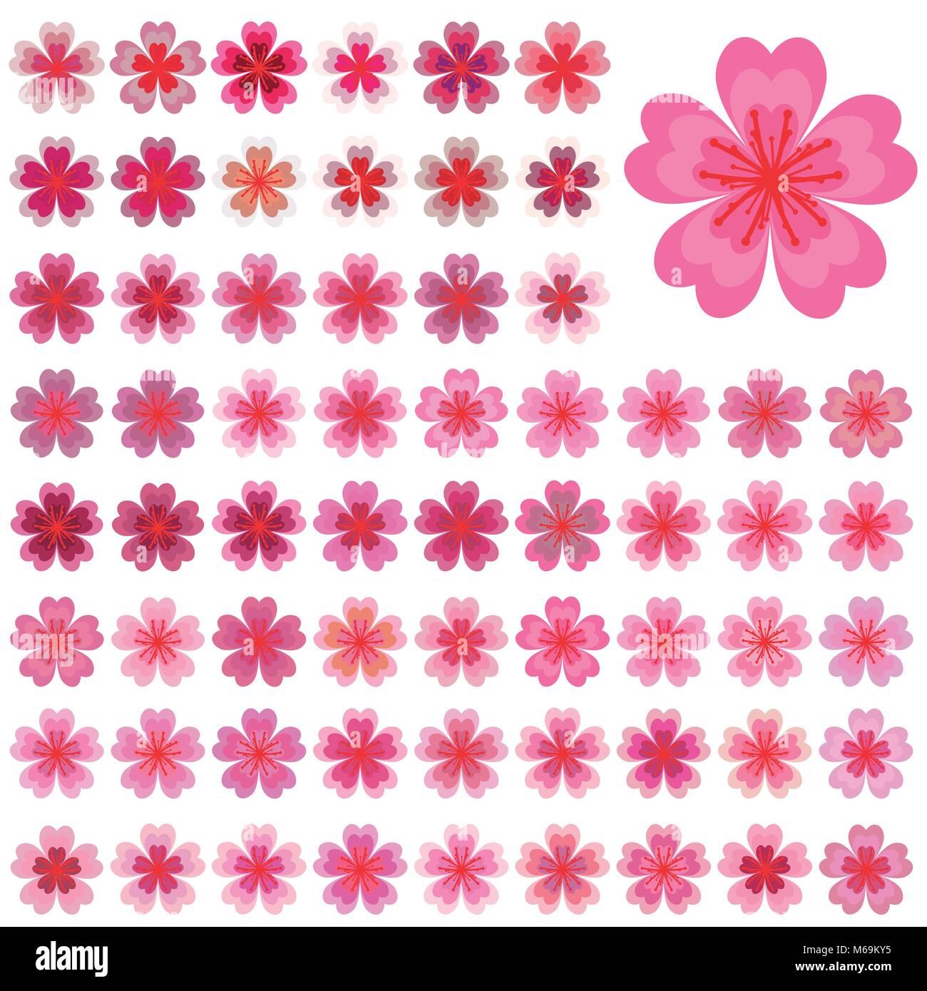 isolierte bl ten von sakura cartoon rosa und wei en bl ten der japanischen kirschbaum vector. Black Bedroom Furniture Sets. Home Design Ideas