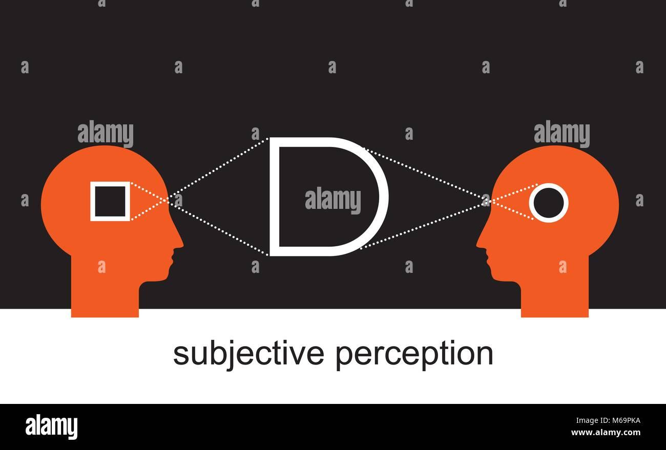 Zwei Seiten der Geschichte, subjektive visuelle Erfahrung Stockbild