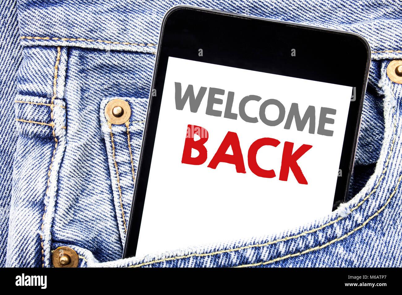 Schreiben Text Angezeigt Willkommen Zurück Business Konzept Für