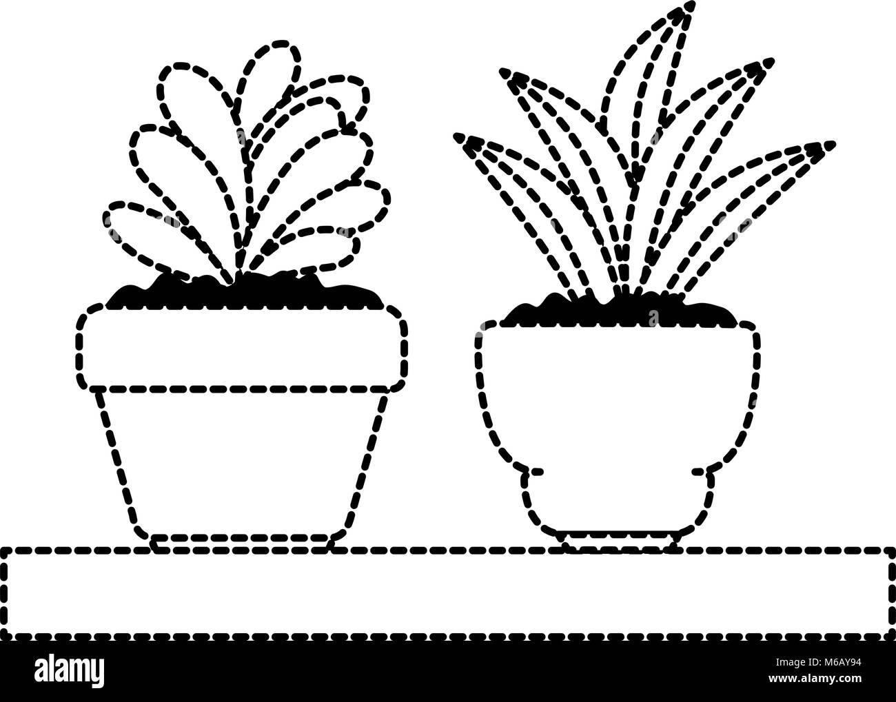 Schöne Zimmerpflanzen In Holzregal Eingestellt Vektor Abbildung