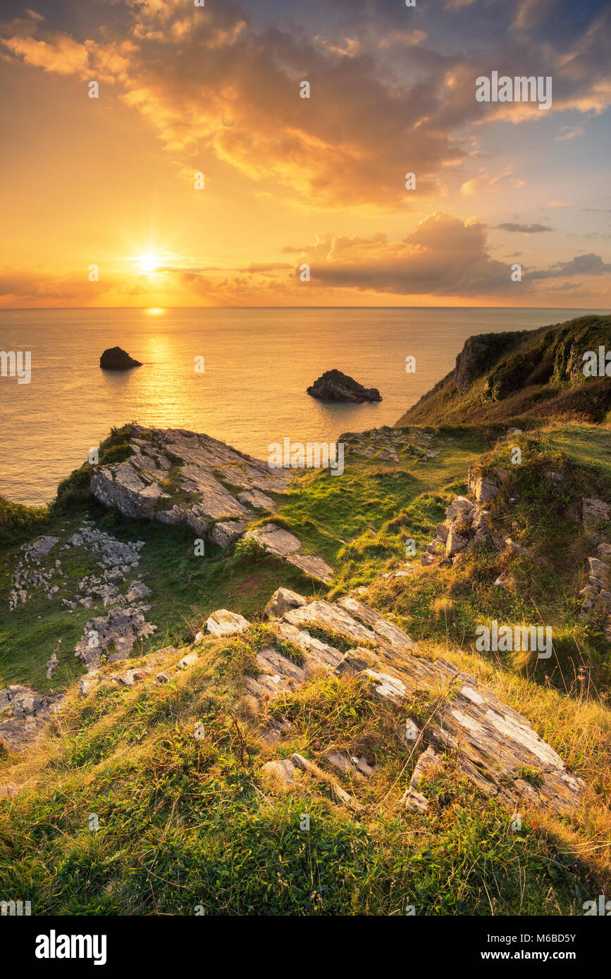 Sonnenaufgang am Berry Head South Devon Brixham Torbay Stockbild