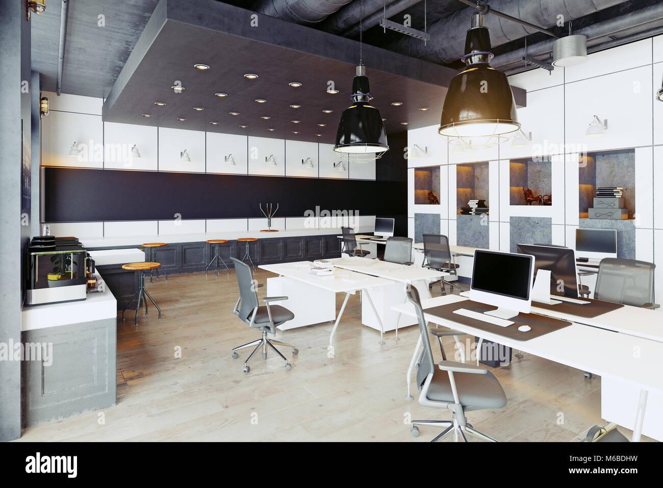 Modernes und gemütliches Loft office Interieur. 3D-Rendering ...