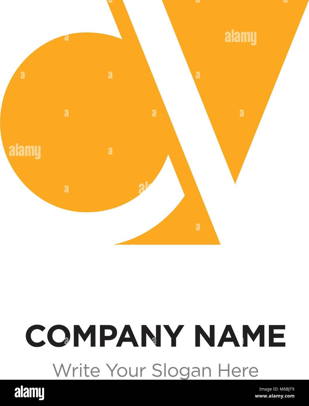 Abstrakte Buchstaben CV VC-Logo Design vorlage, gelb Alphabet ...