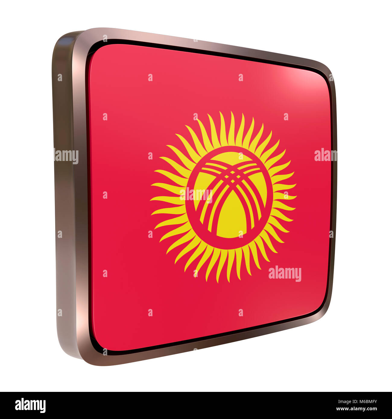 3D-Rendering für eine Kirgistan Fahne Symbol mit einem metallischen ...