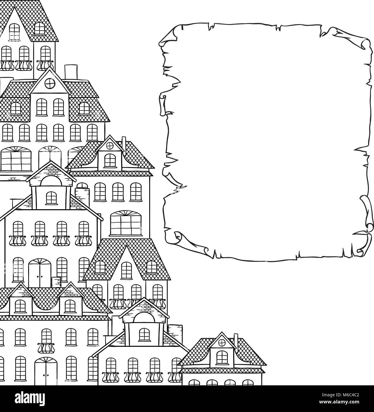 Stadt Skizze Hauser Hintergrund Fur Ihr Design Vektor
