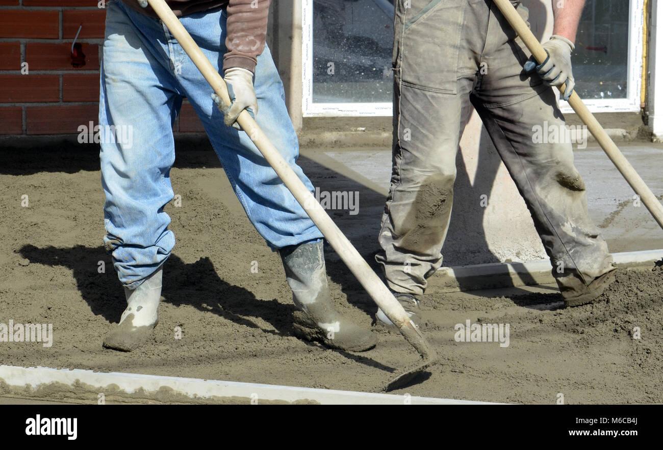 Bild Eines Betonieren Der Boden Von Einem Neuen Haus Stockfoto Bild
