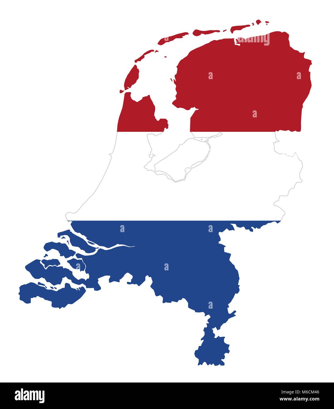 Flagge In Der Gliederung Der Niederlande. Flagge In Roten