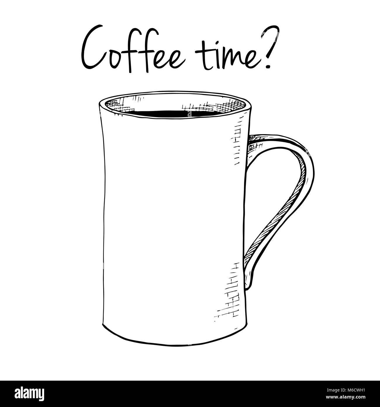Hand Gezeichnet Tasse Text Kaffee Zeit Vector Illustration In