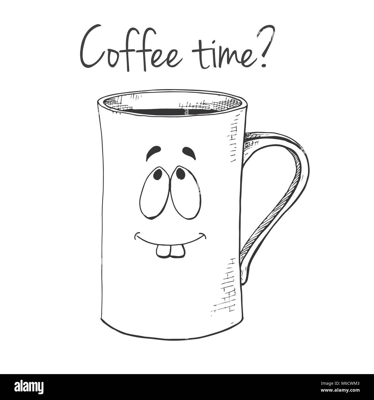 hand gezeichnet tasse becher mit einem gesicht text kaffee zeit vector illustration in skizze. Black Bedroom Furniture Sets. Home Design Ideas