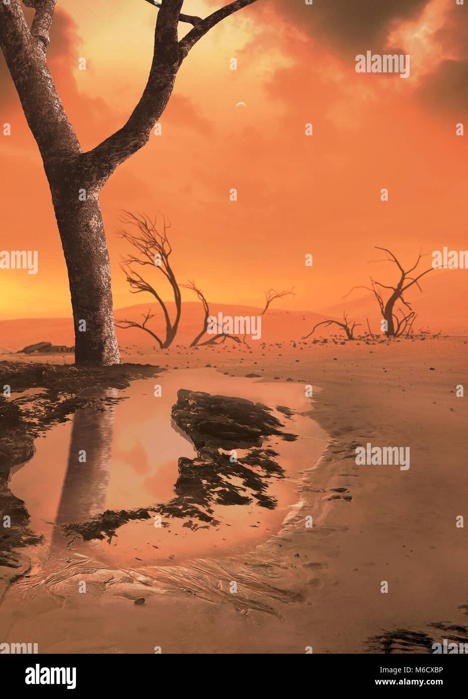 Die Erde beginnt zu unbewohnbar geworden, lange bevor die Sonne selbst stirbt. In etwa 1 Milliarden Jahren die Sonne Stockbild