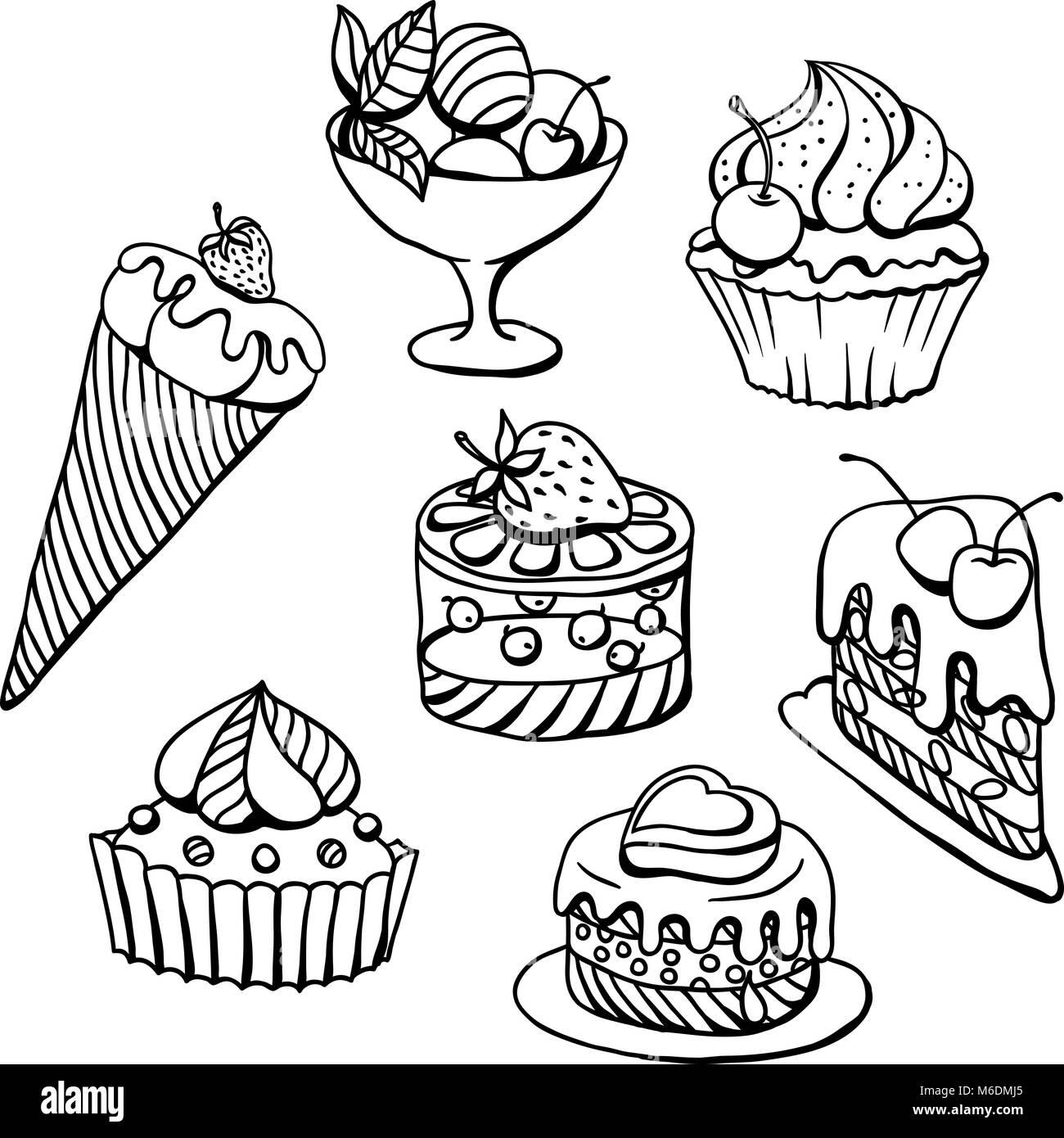 Vektor Einrichten Von Kuchen In Schwarz Abbildung Gezeichnet Vektor