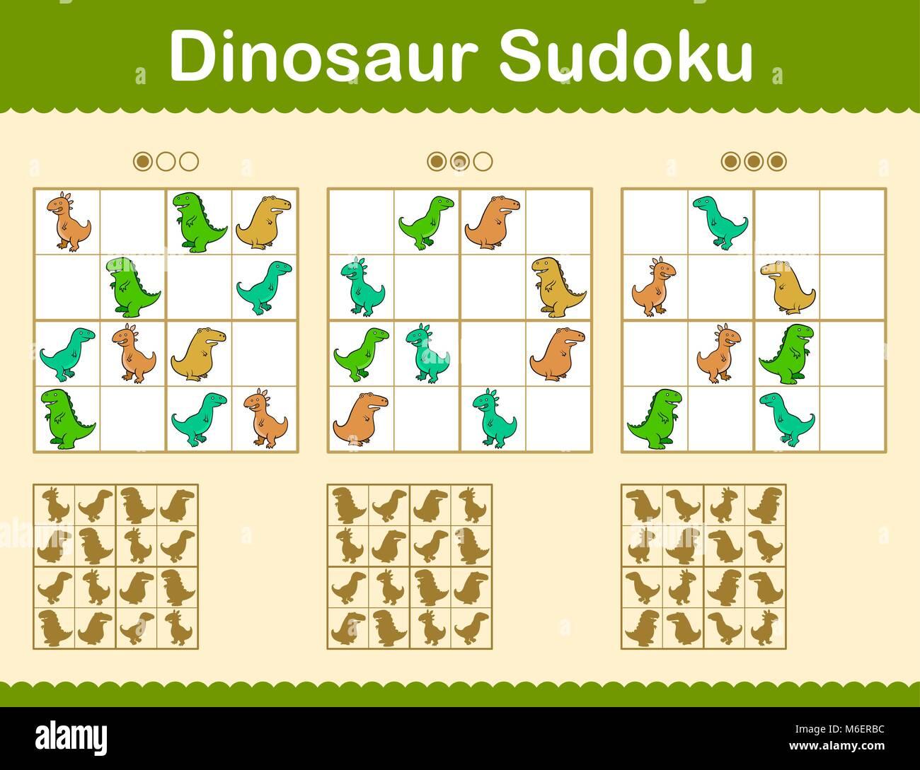 Bunte Sudoku Rätsel mit cartoon Dinosaurier in drei Ebenen des Grids ...