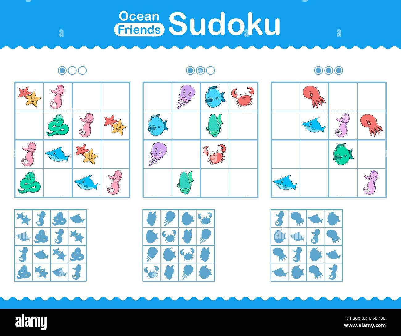 Kinder Sudoku Puzzle mit farbenfrohen cartoon Meer Tiere in einem ...