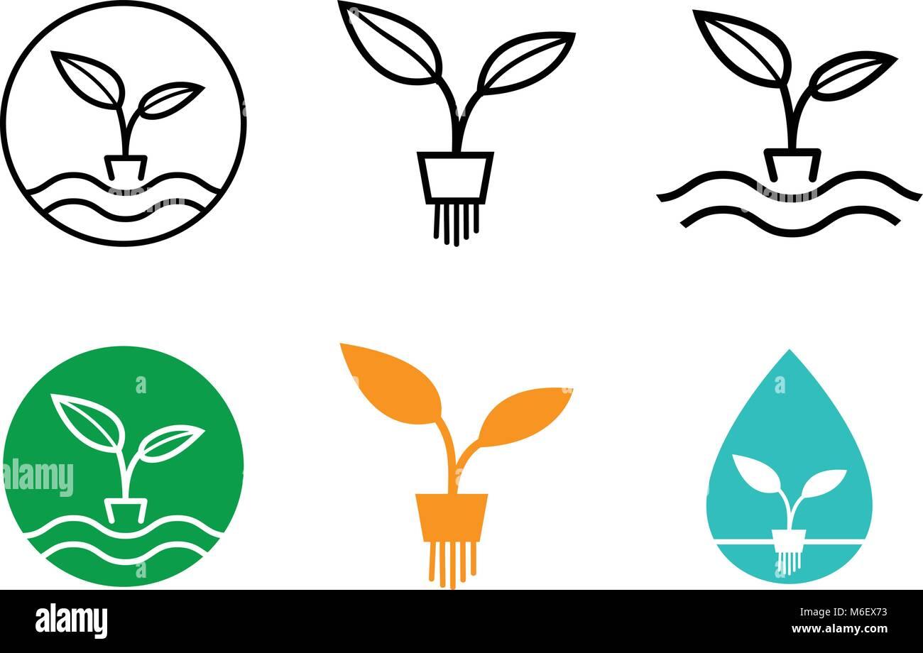 Hydrokultur pflanzen logo und symbol vector art design for Hydrokultur design