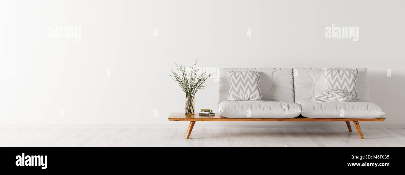 Innenraum Der Wohnzimmer Mit Weißen Sofa Skandinavischen Stil