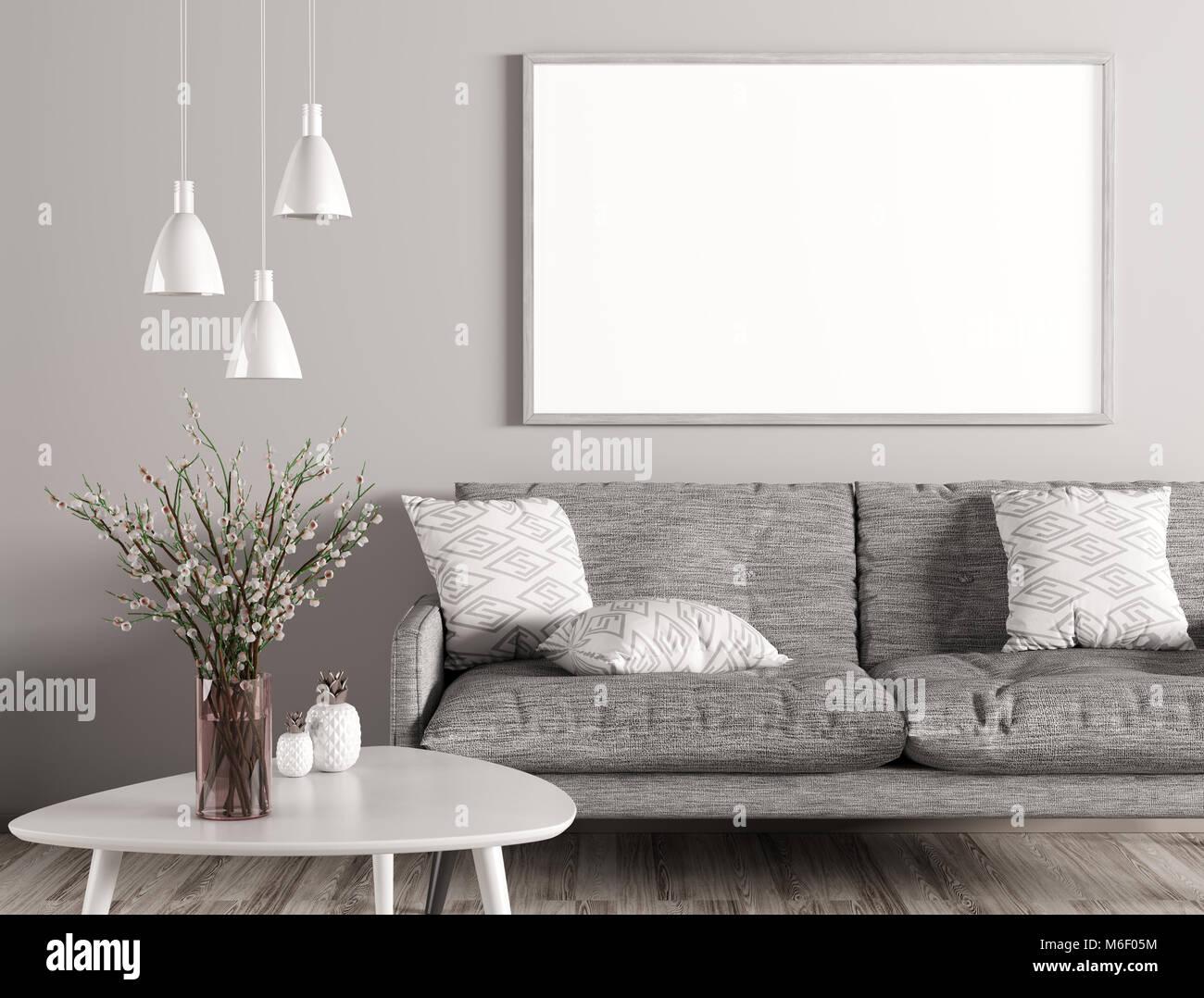 Moderne Einrichtung von Wohnzimmer mit Sofa grau, weiß ...