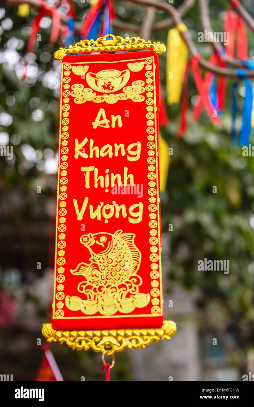 Ein neues Jahr gruss Nachricht auf einem Tuch banner hängt von einem ...