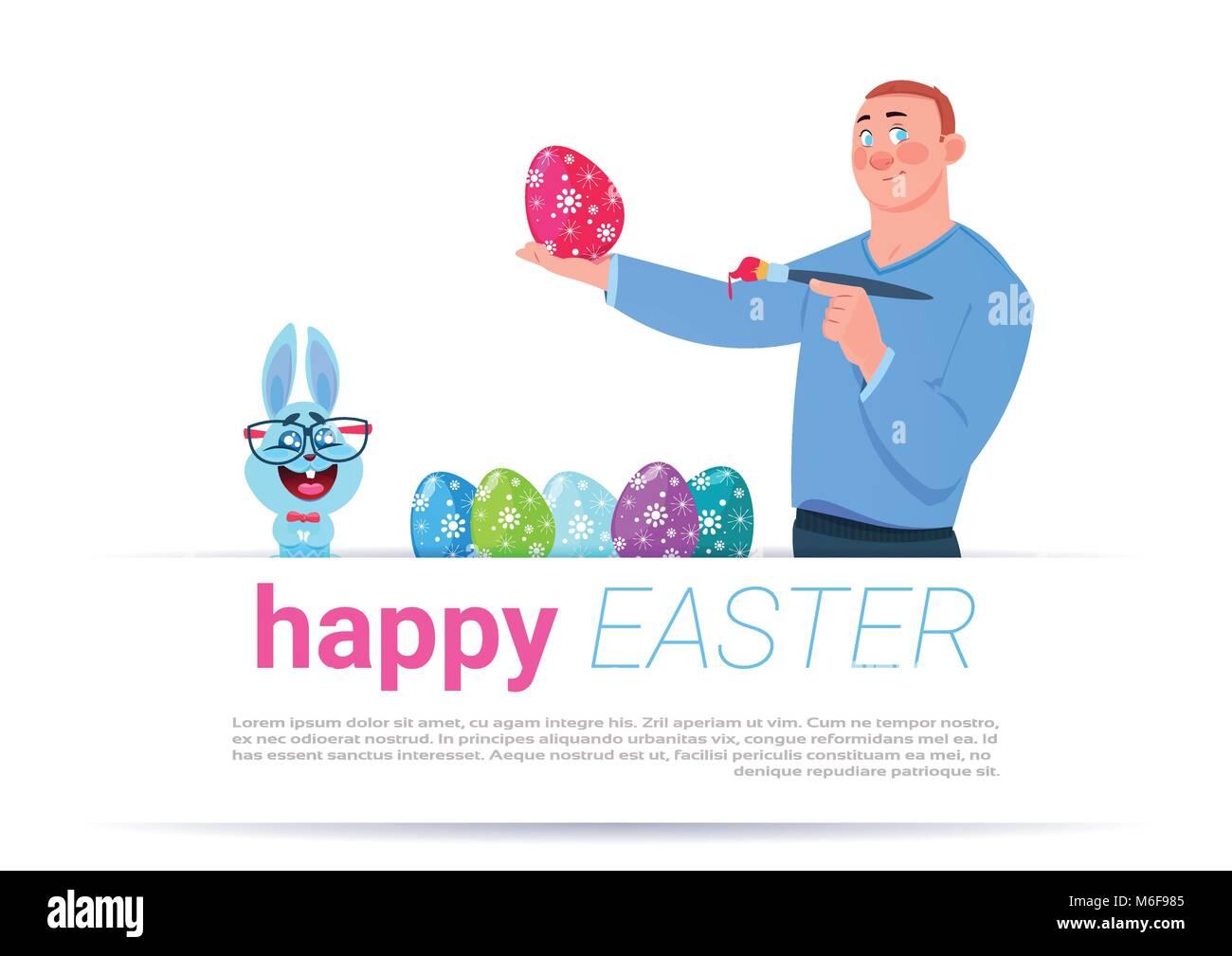 Mann malen Eier über Frohe Ostern Vorlage Hintergrund mit lustigen ...