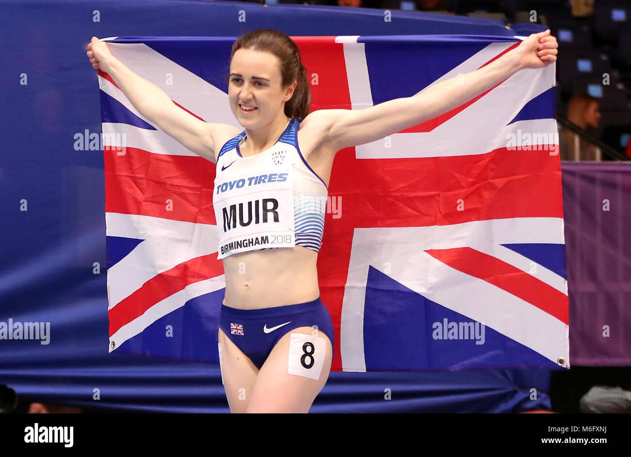 Großbritanniens Laura Muir gewinnt Silbermedaille bei 1500 der Frau m Final bei Tag drei der 2018 IAAF Indoor Stockbild