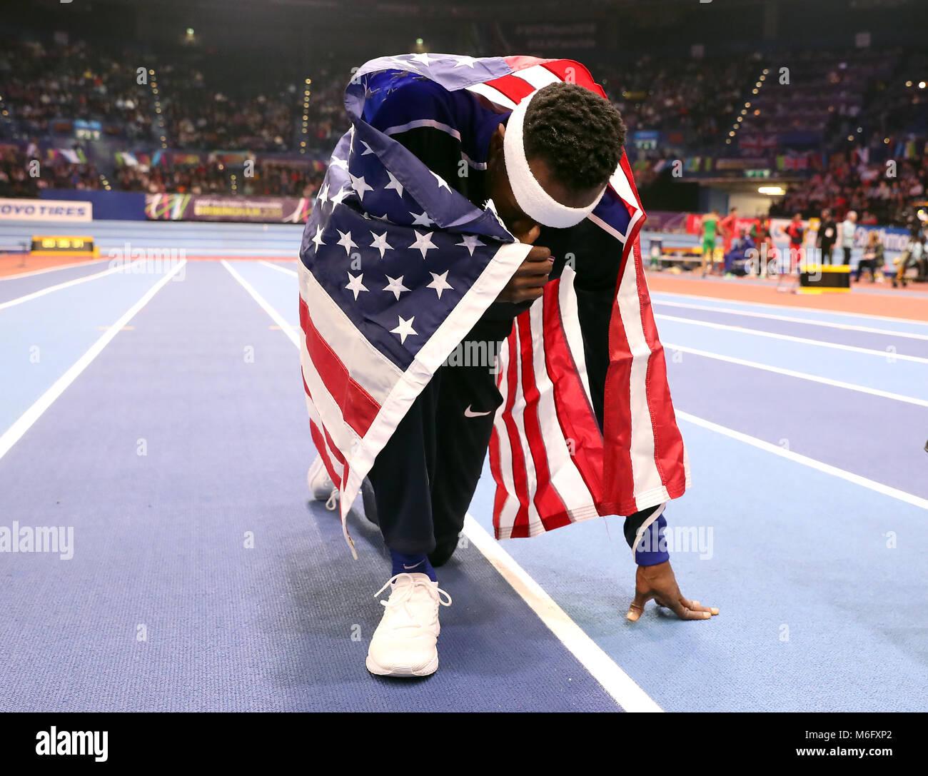 Die USA werden Aéroport feiert den Gewinn der Goldmedaille bei den Herren Dreisprung Finale bei Tag drei der Stockbild