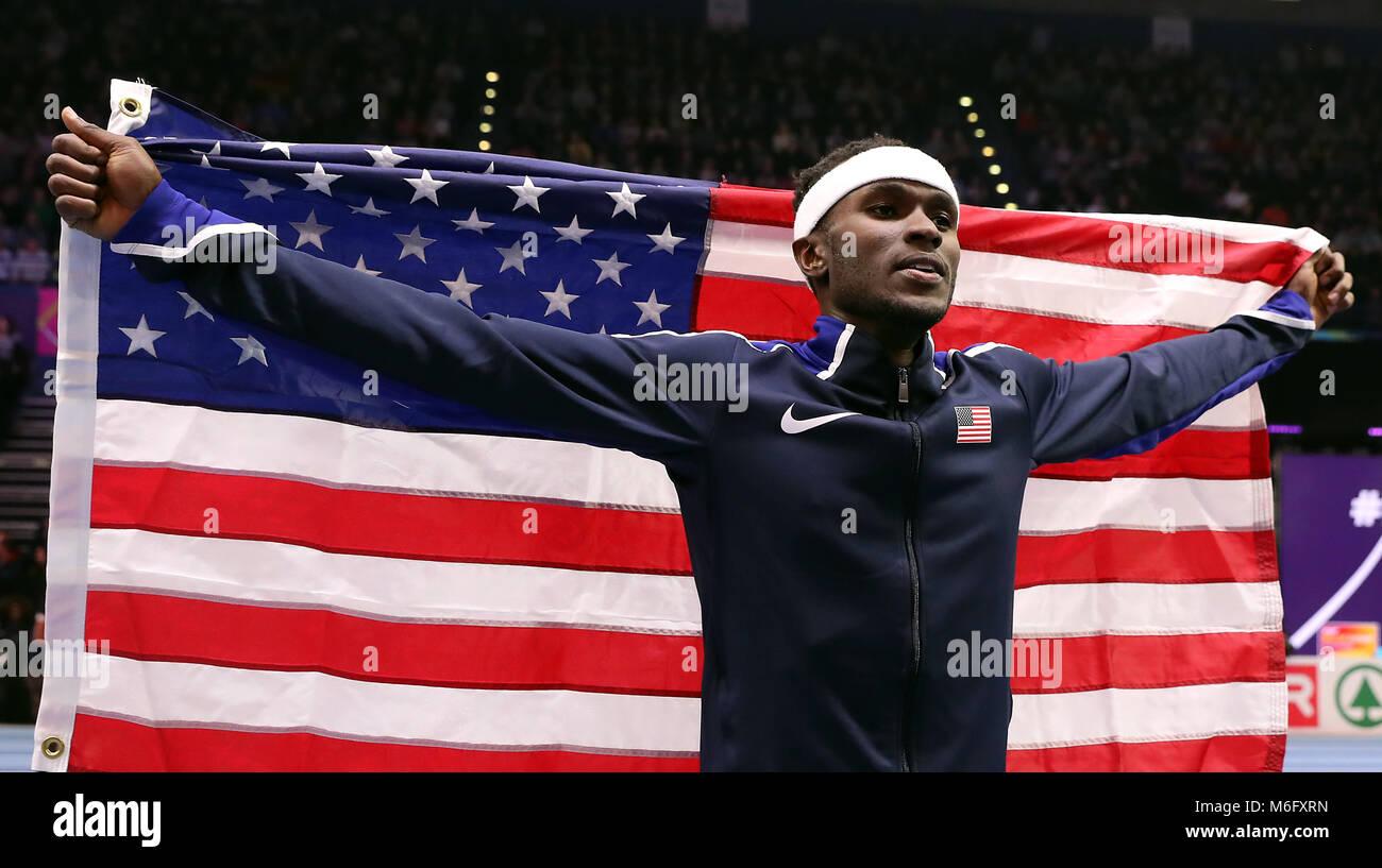 Die USA werden Aéroport feiert Gold gewann bei den Herren Dreisprung Finale bei Tag drei der 2018 IAAF Indoor Stockbild