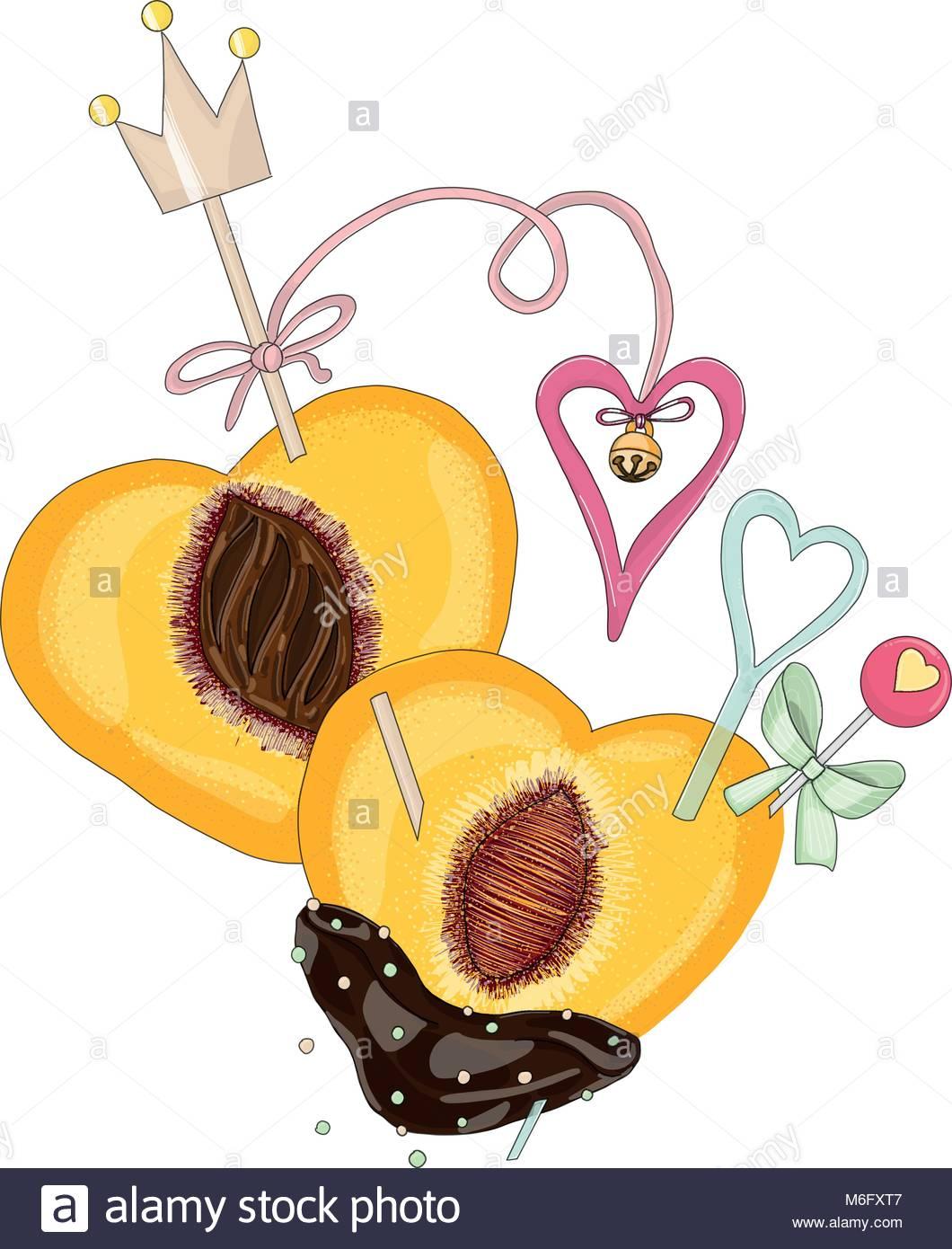 Pfirsich In Schokolade Mit Herzen In Liebe Hand Gezeichnete