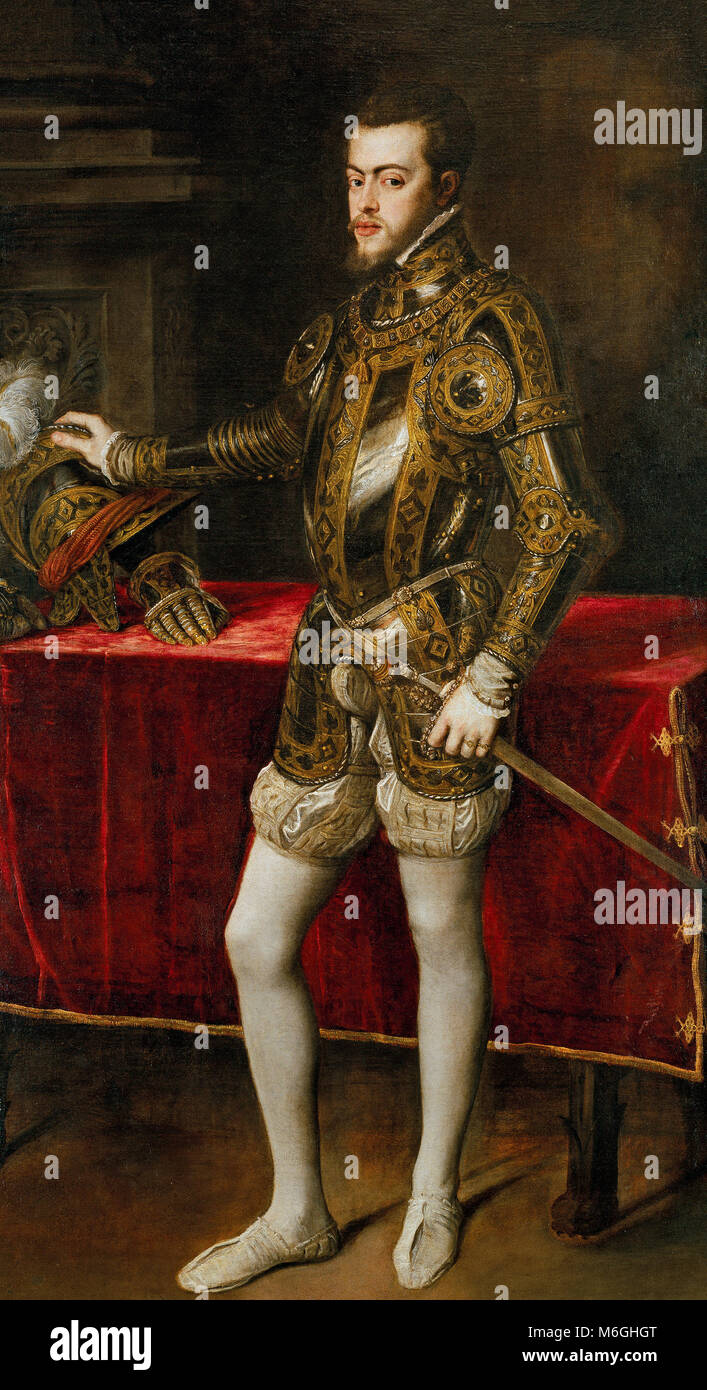 Philipp II. in der Rüstung - Porträt von König Philipp II. von Spanien (1527-1598), Sohn von Kaiser Stockbild