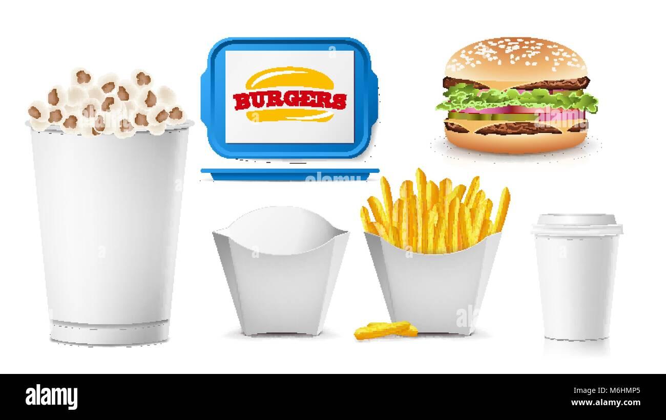 Fast Food Mock Up Set Vektor. Sauberen, weißen Leer. Für Branding ...