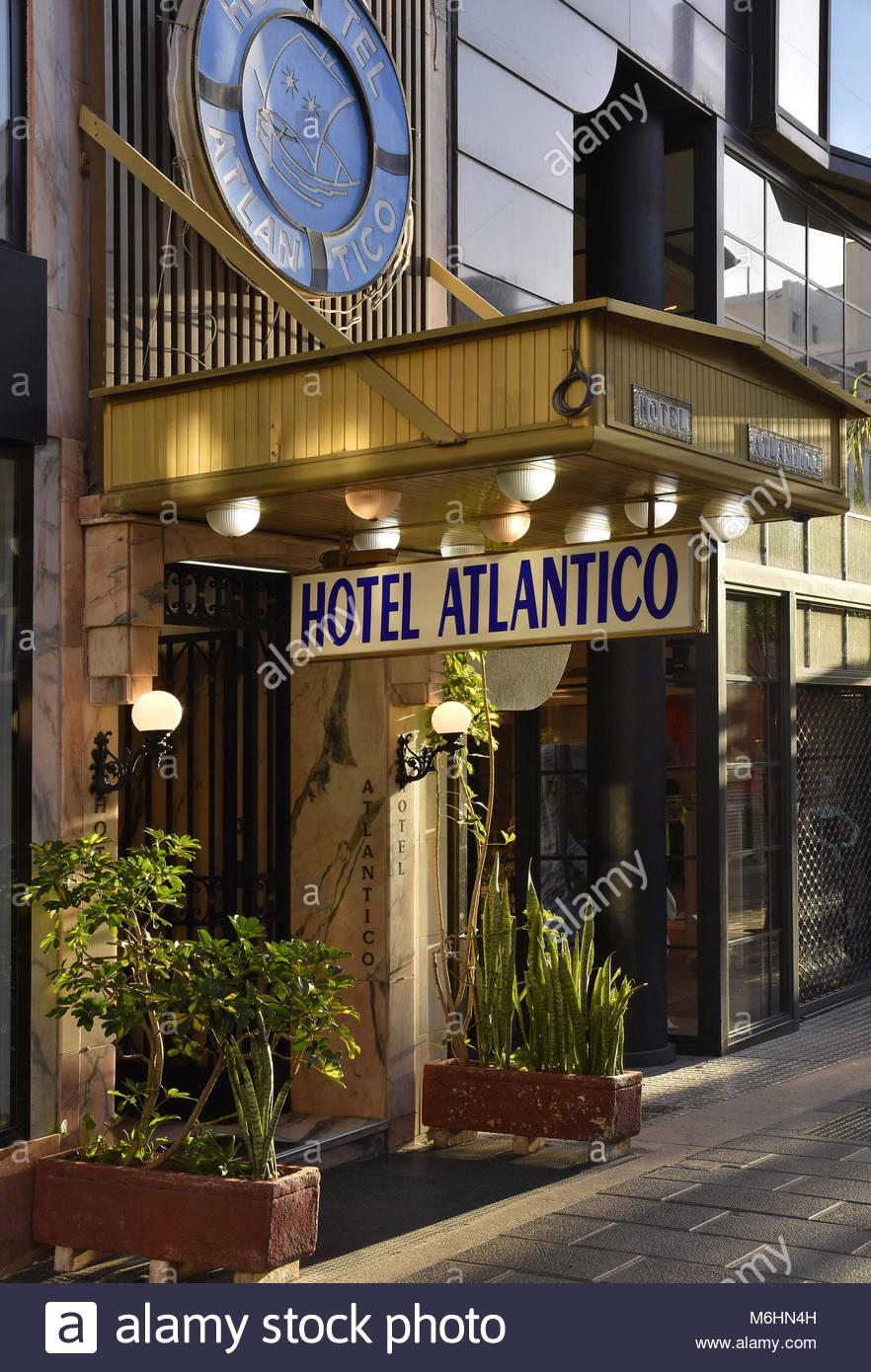 Hotel Atlantico Eingang Eingang Schild Santa Cruz De Tenerife Kanarische Inseln Spanien Stockbild